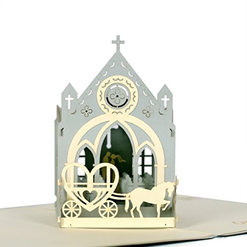 (CUTEPOPUP 3D CHURCH Wedding Popup Cards, Charmings Details, Impressive Handmade Gifts – Be it for your Loved ones, Wedding Anniversaries, Valentile Day – With Cards)