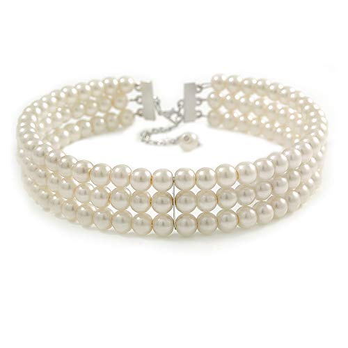 3 Tier Synthetic Pearl Collar Necklace In Silver Plating (Snow White)
