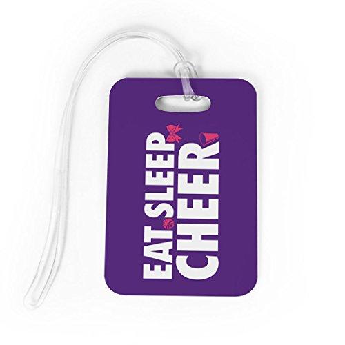 Megaphone Bag Tag - Cheerleading Luggage & Bag Tag   Eat Sleep Cheer   Custom Info on Back   MEDIUM   PURPLE