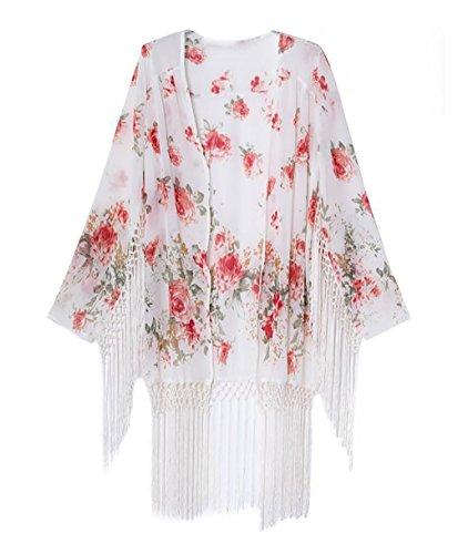 Bigbigfuture Women's Fringe Printed Chiffon Cover up Tunic Kimono Cardigan (Floral-Print F)