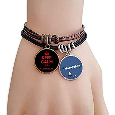 YMNW Quote Keep Calm Red Black Friendship Bracelet Leather Rope Wristband Couple Set Estimated Price -