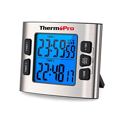 ThermoPro TM02 Digital Kitchen Timer with Dual Countdown Stop Watches