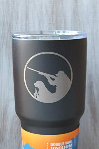 Sale-30 Oz. RTIC or Polar Camel Brand Engraved Textured Black Powder Coated Shotgun Duck Hunting and Dog Tumbler