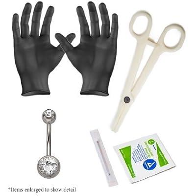 Basic Belly Ring Pro Piercing Kit 14g 1 Double Gem Ring 2gloves,1needle 1 Acrylic Forceps