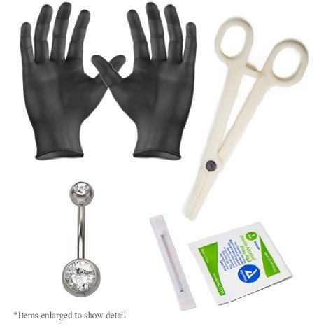 Basic Belly Ring Pro Piercing Kit 14g 1 Double Gem Ring 2gloves,1needle 1 Acrylic - Labret 14g Jeweled