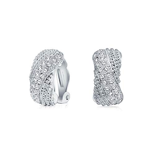 - Bridal Prom Criss Cross Twisted Row Pave Crystal Dome Half Hoop Clip On Earrings Non Pierced Ears Silver Plated Brass