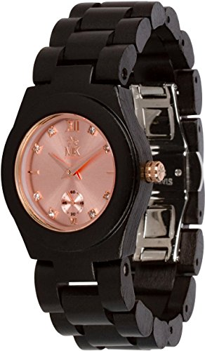 Wooden Watch For Women Maui Kool Hana Collection Womens Wood Watch Bamboo Gift Box (A3 - Ebony Rose - Ebony Gold