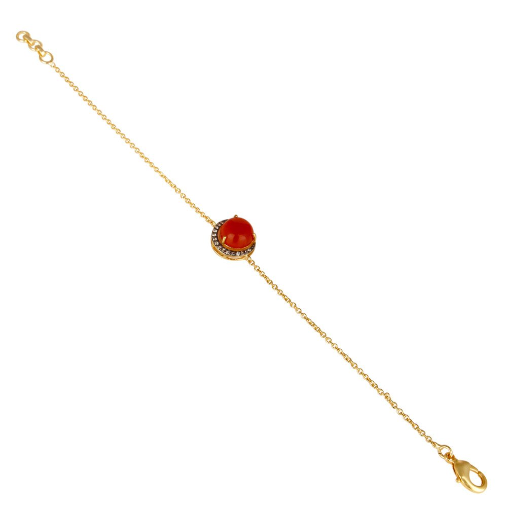 Handmade 18k Gold Plated Red Gemstone Brass Chain Bracelet for Women and Girls Jewelr