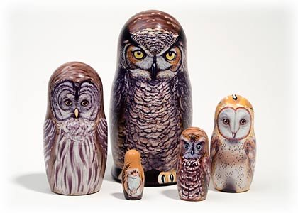 North American Owls 5 Piece Russian Wood Nesting Doll Matryoshka Stacking Dolls by Golden Cockerel (Image #4)