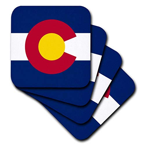 3dRose CST_55386_2 State Flag of Colorado PD-US Soft Coasters (Set of 8)