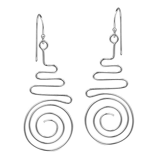 Awesome Wavy Lines and Spiral Maze .925 Sterling Silver Dangle Earrings ()