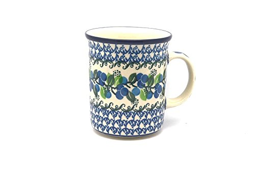 (Polish Pottery Mug - Big Straight Sided - Blue Berries)