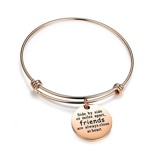 Rose Gold Bangle with Charm- Stainless Steel Adjustable Expandable Wire Friendship Bracelets for Women and Teens Girl