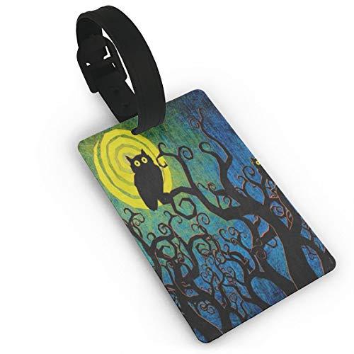 Luggage Tags Vintage Halloween Night Black Tree Owl Bag Tag for Travel 2 PCS ()