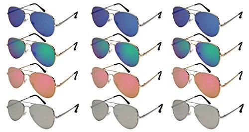 Edge I-Wear 12 Pack Wholesale Top Gun Pilot Aviator Sunglasses Mirrored Lens Sunglass Spring Hinge N25095AS-FLREV ()