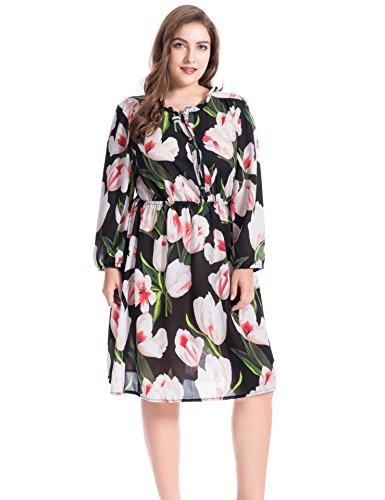 Dress Party Dress Summer Split s Women with Chicwe Black Printed Casual Plus Size Lily Floral and Ruffled Lily Neckline Collar Z1zTwq