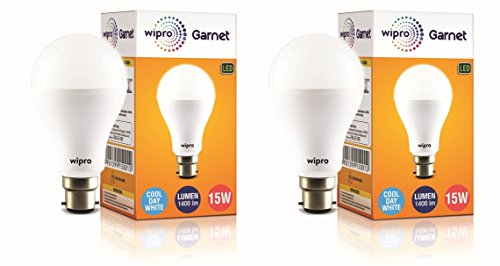 wipro 15 Watt B22 LED Cool Day Light Bulb (White) – Pack of 2