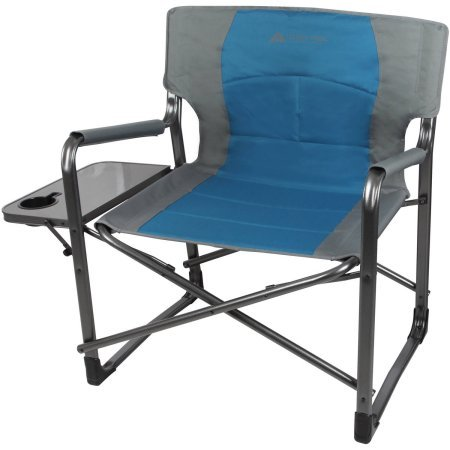 ra Wide Chair With Comfortable Padded Seat And Armrest, Foldable Side Table And Built In Cup Holder, 600 lbs Weight Capacity, Blue (Big Boy Chair)