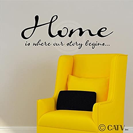 Home Is Where Our Story Begins Vinyl Lettering Wall Art Sayings Home Decor  Decal