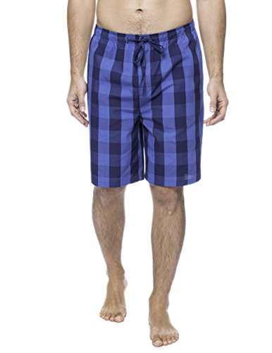 - Twin Boat Men's Woven Cotton Lounge Shorts - Gingham Navy/Blue - 2XL