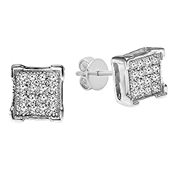 White Diamond Sterling Silver Square Stud