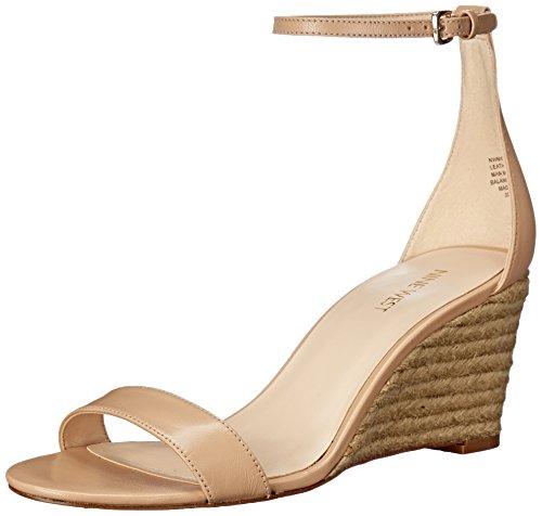 Nine West Women Nicetoseeu Leather Wedge Sandal Natural