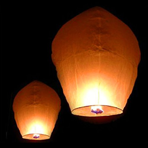 Paper Lantern Sky Candle Birthday Party : 50 White Paper Chinese Lanterns Sky Fly Candle Lamp for Wish Party Celebrant : Lamp Wedding (Flower Shaped Eyelets)