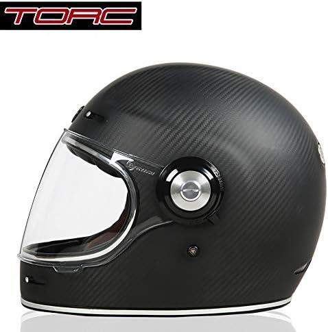 TORC バイクヘルメット フルフェイス 炭繊維製 ヘルメット 並行輸入品 (マットブラック, L)