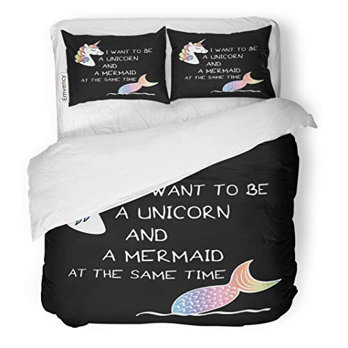 - Tarolo Bedding Duvet Cover Set Animal I Want to Be Unicorn and Mermaid at The Same Time Text Drawings Graphics Believe 3 Piece Twin 68