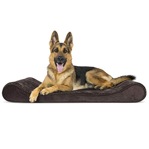 Furhaven Pet Dog Bed | Orthopedic Minky Plush & Velvet Ergonomic Luxe Lounger Cradle Mattress Contour Pet Bed w/ Removable Cover for Dogs & Cats, Espresso, Jumbo