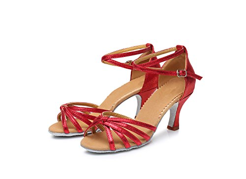 ShangYi Latin dance shoes women's high-heeled soft bottom knotted Latin shoes dance shoes, 7cm red