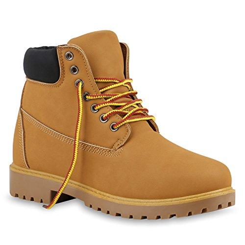 Stiefelparadies Unisex Damen Herren Worker Boots Outdoor Schuhe Schnürstiefel Flandell Hellbraun Gelb