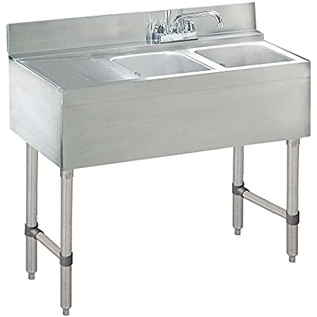Advance Tabco CRB 32R Lite Two Compartment Stainless Steel Bar Sink With 9 Drainboard 36 X 21 Right Side Sink