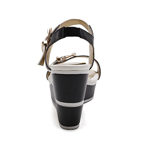Amoonyfashion Para Mujer De Tacones Altos Assorted Color Hebilla Open Toe Sandals White