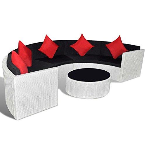 Festnight 6 Piece Outdoor Patio Garden Lounge Set Half-round Poly Rattan Furniture White