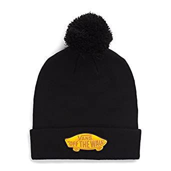 a06b32383f Amazon.com  Vans Off The Wall Adult Pin Pin Pom Classic Patch Beanie Hat Cap  - Black  Clothing