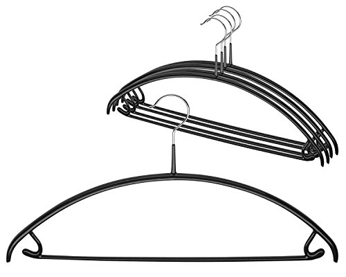 Mawa by Reston Lloyd Euro Series Non-Slip Space-Saving Clothes Hanger with Bar & Hooks for Pants & Skirts, Style 42/U, Set of 5, (Lloyd In Space Halloween)