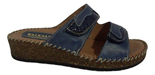 SUSIMODA - Zapatillas de estar por casa de Piel para mujer azul turquesa