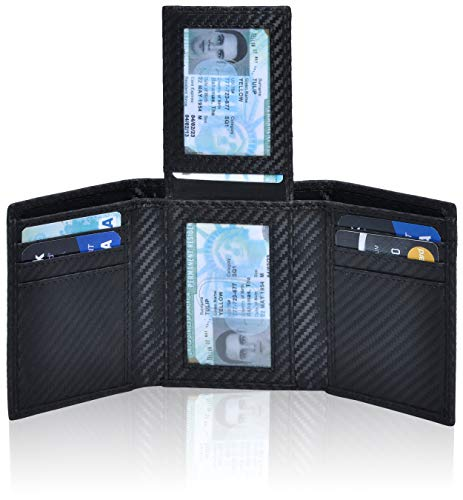 RFID Leather Trifold Wallets for Men - Handmade Slim Mens Wallet Credit Card Holder with ID Window (Small, Black Carbon Fibre) ()