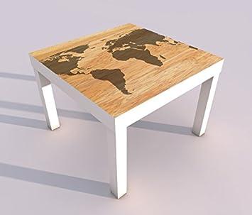 Design Tisch Mit Uv Druck 55x55cm Karte Welt Weltkarte Holz Braun