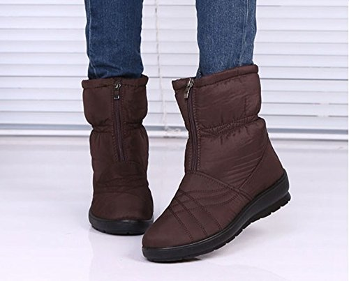 Wide Warm Winter Women's Snow Labato Brown Ankle Zipper Waterproof Calf Boots Style with qZctOtS