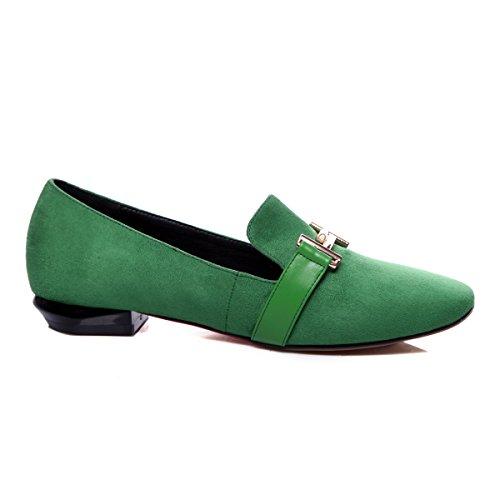 Show Shine Damesmode Slip Op Casual Loafers Schoenen Groen