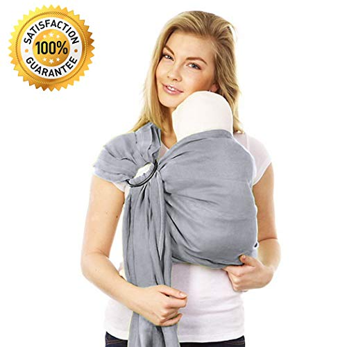 Stylish Ring Sling Baby Carrier - Soft Bamboo Linen Fabric - Lightweight Wrap - for Newborns Infants Toddlers - The Perfect Baby Shower Gift - Nursing Cover - Great for New Parents (Silver Grey) ()
