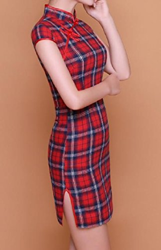 As1 Stand Chi Plaid Chinese Silm Commute Women Dresses Simple Traditional Ethnic Style Printing Coolred Collar Pao qH8ZvWRp