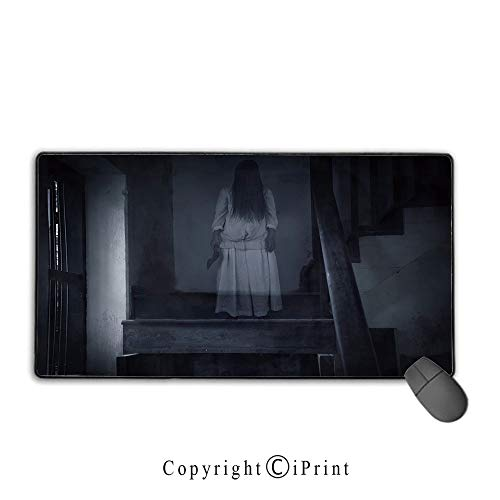 Game speed version medium cloth mouse pad,Halloween,Horror Scenery Ghost Girl Figure on Stairway Holding Axe Murder Violent Nightmare Decorative,Grey White, Non-slip rubber base Mouse pad with lock,15 ()