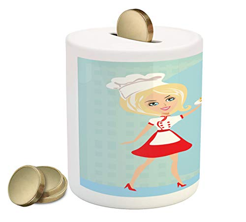 Ambesonne Italian Piggy Bank, Woman Sexy Blonde Chef Serving Spaghetti Pasta Cooking Traditional Dish Menu Print, Printed Ceramic Coin Bank Money Box for Cash Saving, - Piggy Italian