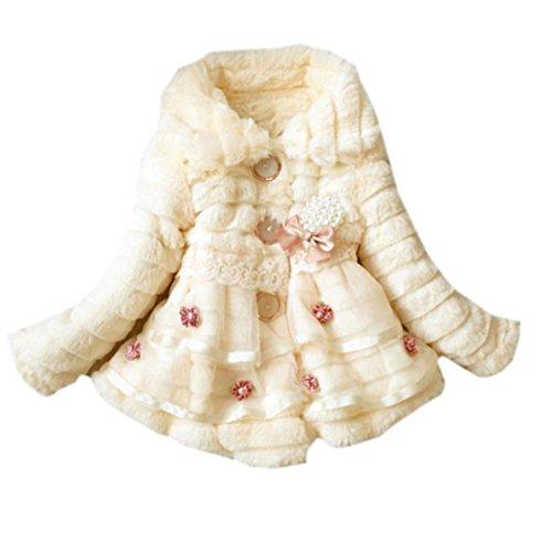 Jingjing1 Faux Fur Coat Kids Girls Cute Lapel Flower Printed Fleece Lined Winter Warm Outwear Jacket by Jingjing1