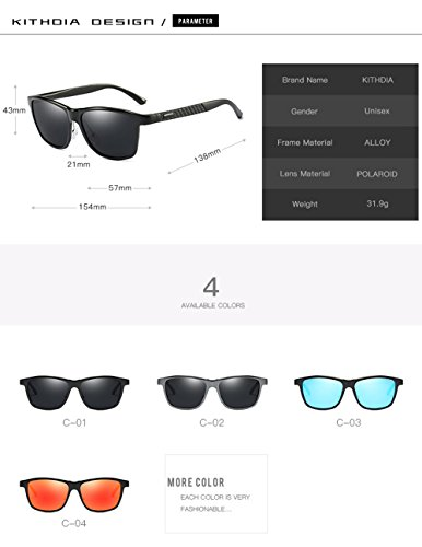 KITHDIA Mens Driving Polarized Wayfarer Sunglasses Al-Mg Metal Frame Ultra Light #407 by KITHDIA (Image #5)