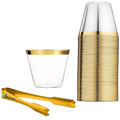 (60 Gold Rimmed Plastic Cups 9 Oz Clear Plastic Cups Tumblers Gold Rimmed Cups Fancy Disposable Wedding Cups Elegant Party Cups with Gold Rim and gold ice tongs)