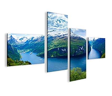 Quadro moderno Fiordi V2 Noruega 4LP Impresión sobre lienzo ...